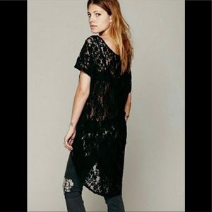 Free People sheer lace beach swim cover black XS